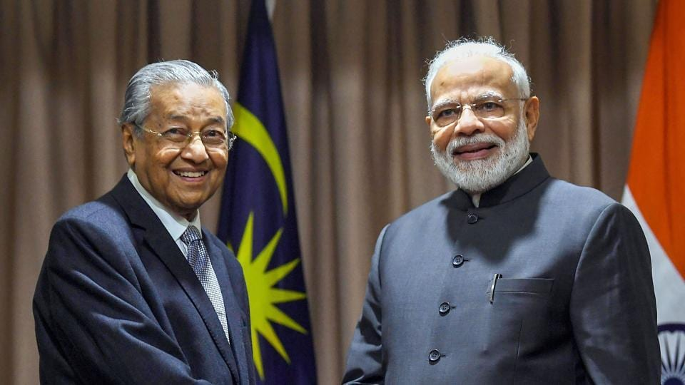 Prime Minister Narendra Modi with Malaysian counterpart Dr. Mahathir Mohamad.