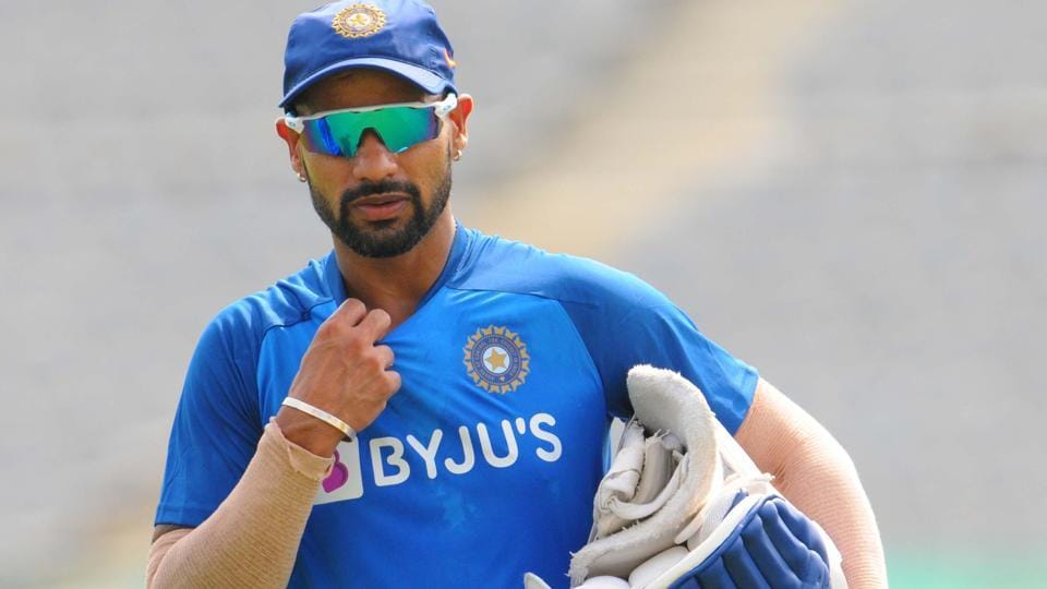 Shikhar Dhawan during a practice session.