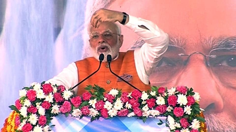 Prime Minister Narendra Modi addresses a public meeting during his visit to Gujarat on Tuesday, his 69th birthday.