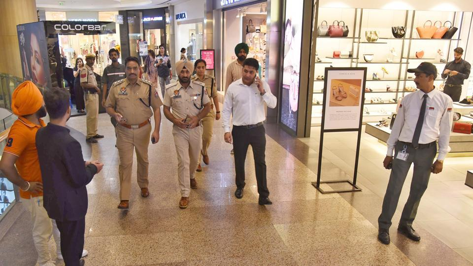 Police team conducting a checking drive at Pavilion Mall in Ludhiana on Tuesday.
