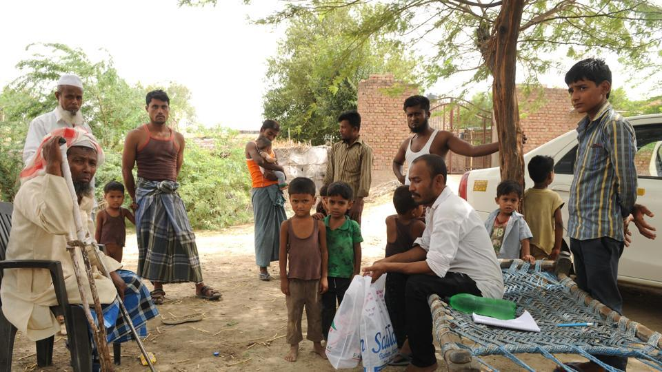 Rohingya refugees in a camp in Haryana's Nuh district.