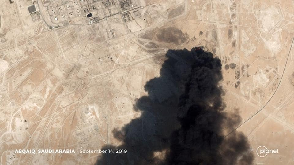 A satellite image shows an apparent drone strike on an Aramco oil facility in Abqaiq, Saudi Arabia September 14, 2019.