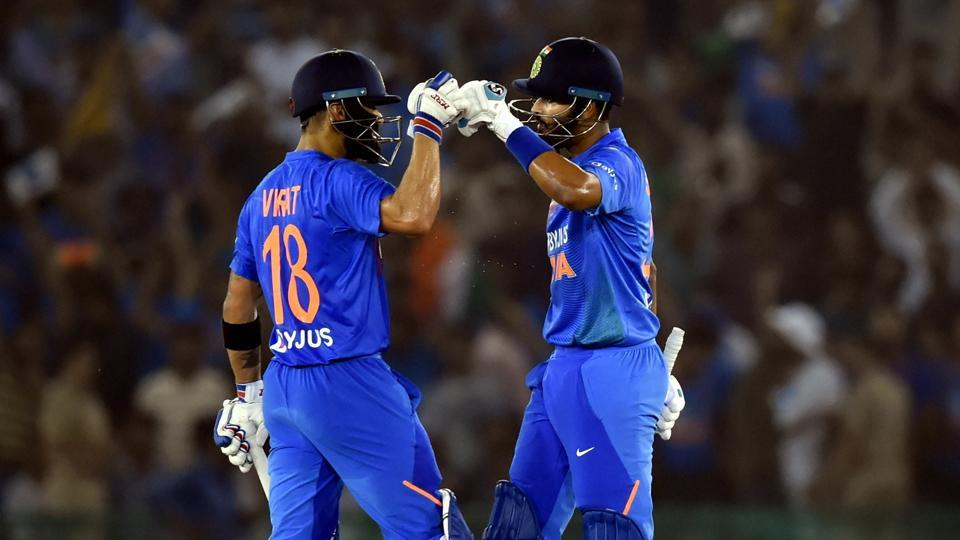 Indian captain Virat Kohli and Shreyas Iyer after winning the 2nd T20I match against South Africa in Mohali. (PTI)