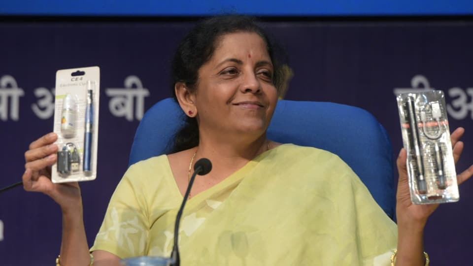 Union Minister Nirmala Sitharaman briefs the media on Cabinet at PIB Conference Hall, National Media Centre in New Delhi on Wednesday 18 September 2019. (Photo by Mohd Zakir/HT)