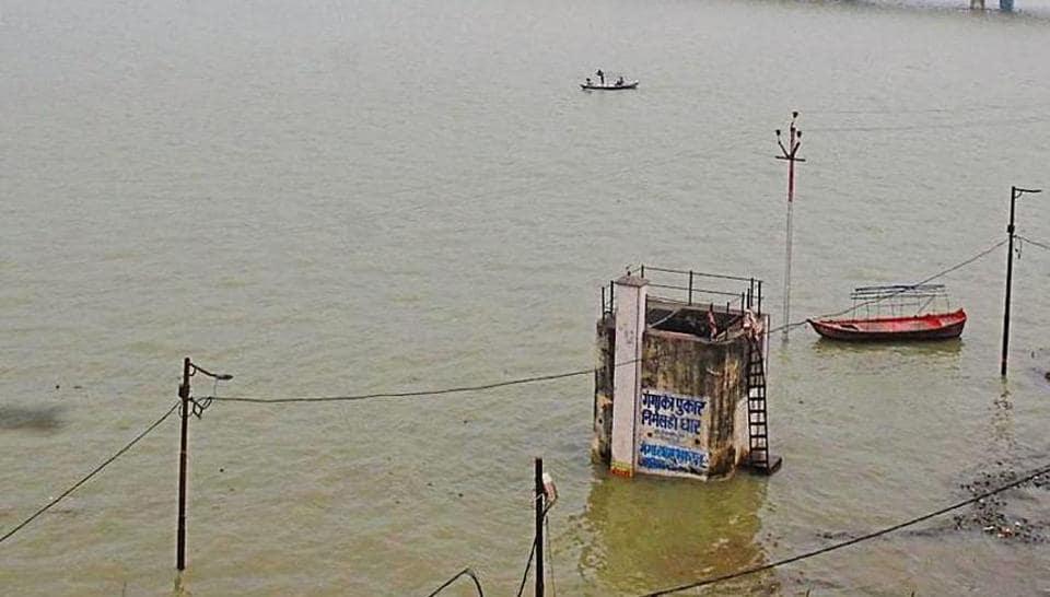 A view of the swollen Ganga river in Prayagraj, September 18, 2019.
