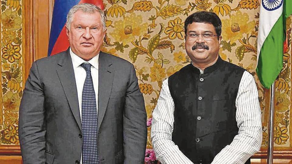 Union Minister for Petroleum, Natural Gas and Steel, Dharmendra Pradhan and Russia's oil company Rosneft chief Igor Sechin pose for a photograph during a meeting, in New Delhi, Tuesday, Sept. 17, 2019.