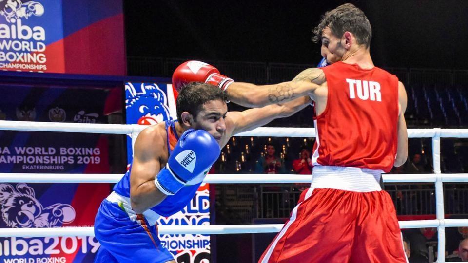 Ekaterinburg: Asian Games gold-medallist Amit Panghal (52kg) during a bout