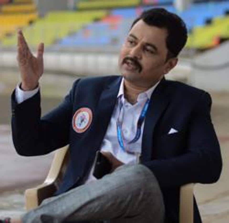 ubodh Bhave at Balewadi stadium during the shoot of Mukta Arts' Marathi film Vijeta, in Pune, India, on Tuesday, September 17, 2019