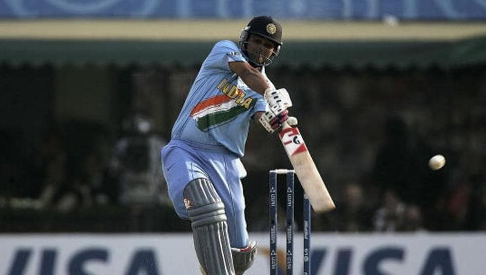 Dinesh Mongia plays a shot during an ODI