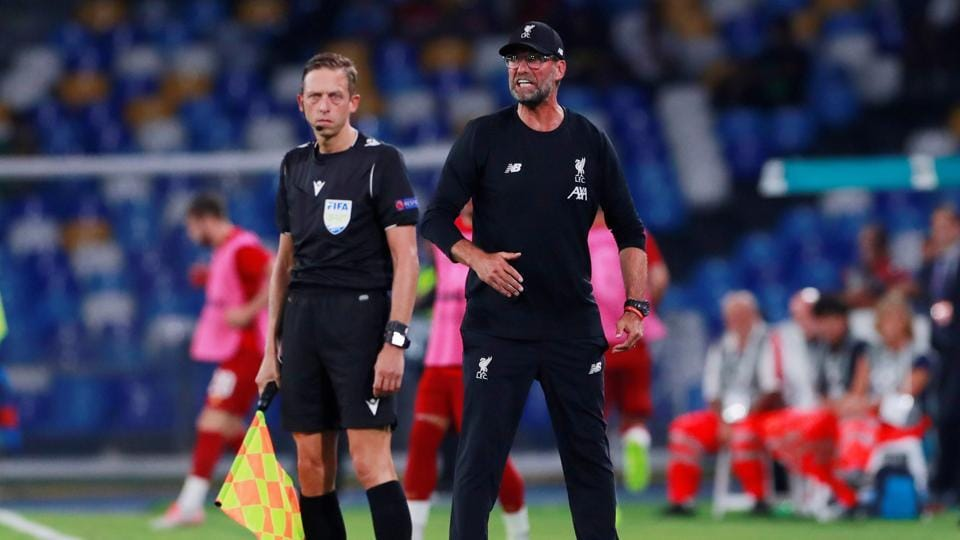 Liverpool manager Jurgen Klopp reacts during Liverpool 2019 UEFA Champions League opener against Napoli.