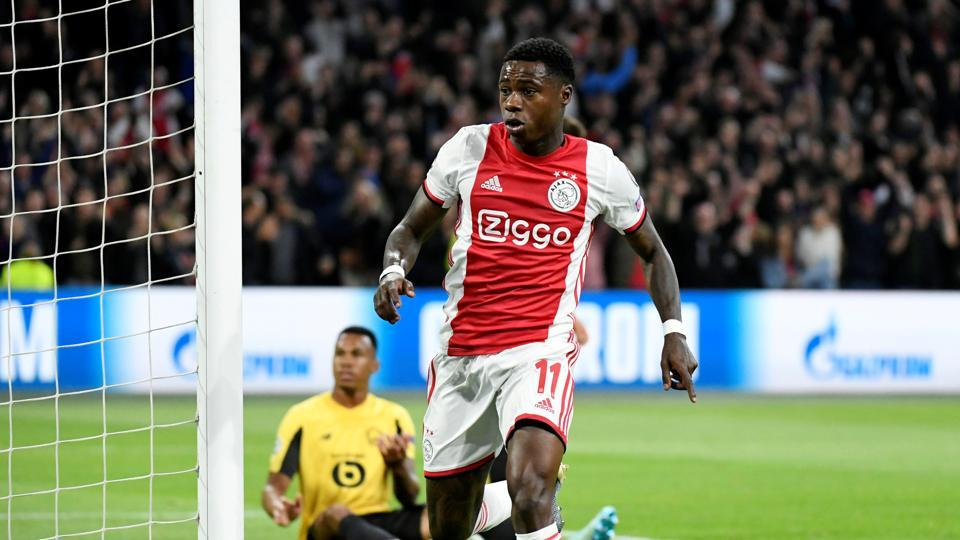 Soccer Football - Champions League - Group H - Ajax Amsterdam v Lille - Johan Cruijff Arena, Amsterdam, Netherlands - September 17, 2019 Ajax's Quincy Promes celebrates scoring their first goal