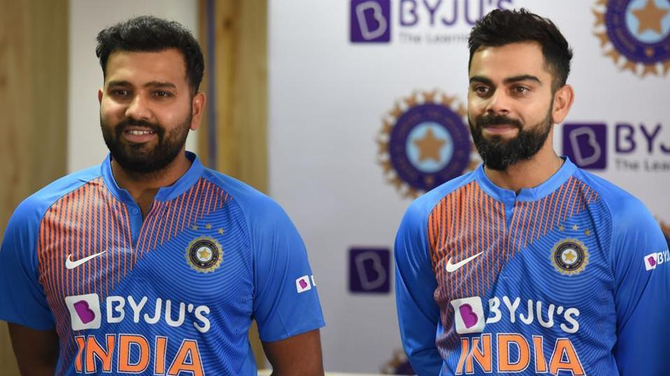 Indian cricket team captain Virat Kohli and vice-captain Rohit Sharma during the launch of a new jersey at a press conference in Dharamshala.