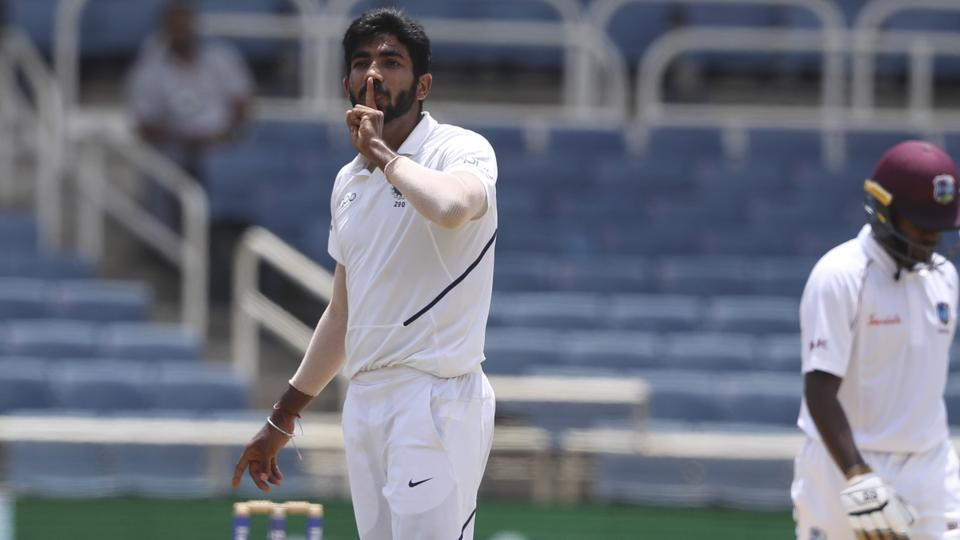 India's Jasprit Bumrah celebrates taking the wicket of West Indies' Jermaine Blackwood during day four of the second Test cricket match at Sabina Park cricket ground in Kingston.
