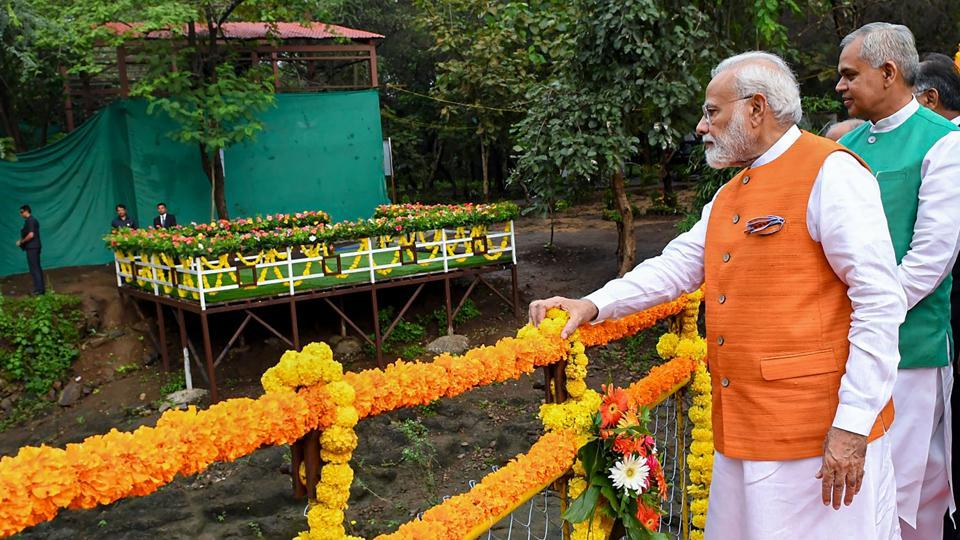 Kevadia: Prime Minister Narendra Modi visits the river rafting sports facility and inspects ongoing work at Jungle Safari on the occasion of his 69th birthday, in Kevadia, Tuesday, Sept. 17, 2019. Gujarat Governor Acharya Dev Vrat and Chief Minister Vijay Rupani are also seen.