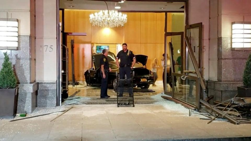 Auto smashes into lobby of Trump Plaza in New Rochelle, New York