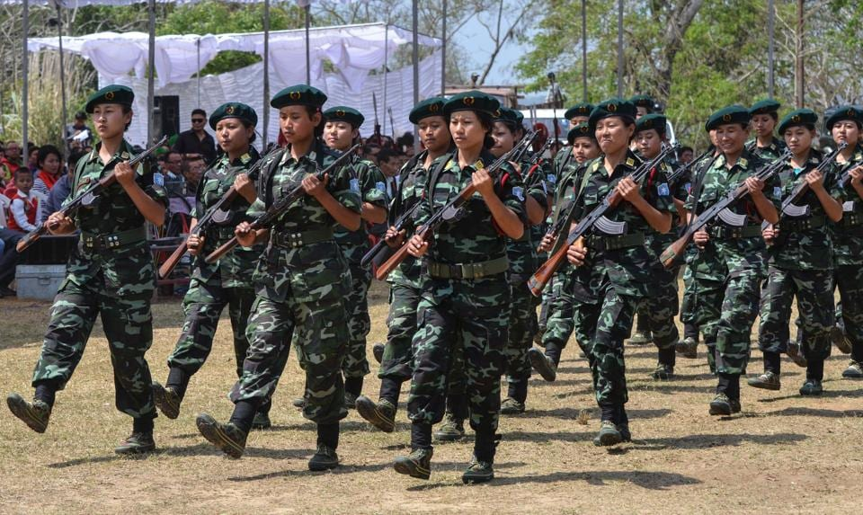 The Women Arms wing of the separatist group the National Socialist Council of Nagaland - Isak Muivah (NSCN-IM) marches during the 35th Naga Republic Day celebrations at the council headquarters in Hebron, 35 kms away from Dimapur, Nagaland.