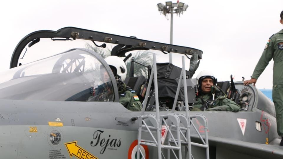 Rajnath Singh being prepared to fly on 'Tejas', an Indigenous Light Combat Aircraft from Bengaluru's HAL Airport. (TWITTER: @rajnathsingh)