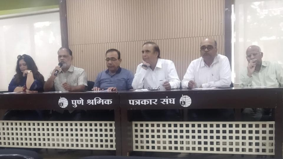 (From left) Nikita Moghe, Sunil Mahajan, Ravindra Khare, Anand Panse, Abhay Jabade and Shirish Phule at a press conference held in Pune on Wednesday. The year 2018-19 marks the 125th year since commencement of Bharat Natya Sanshodhan Mandir.
