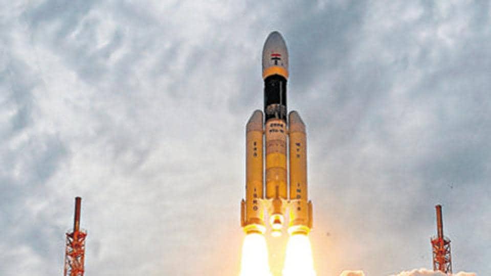 Chandrayaan-2 lifts off from Satish Dhawan Space Center at Sriharikota in Andhra Pradesh on  July 22, 2019.