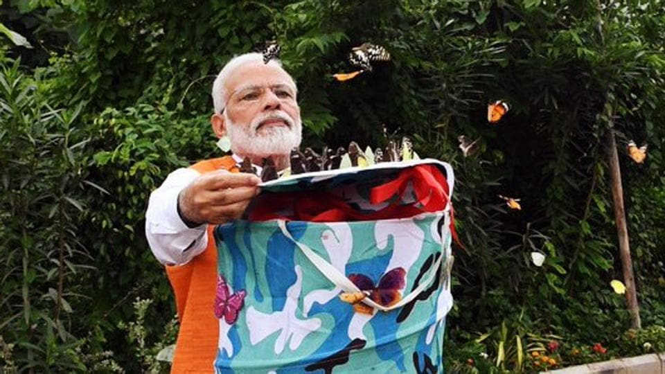 Prime Minister Narendra Modi releasing butterflies at 'Butterfly Garden' during his visit to Kevadia in Narmada on Tuesday.
