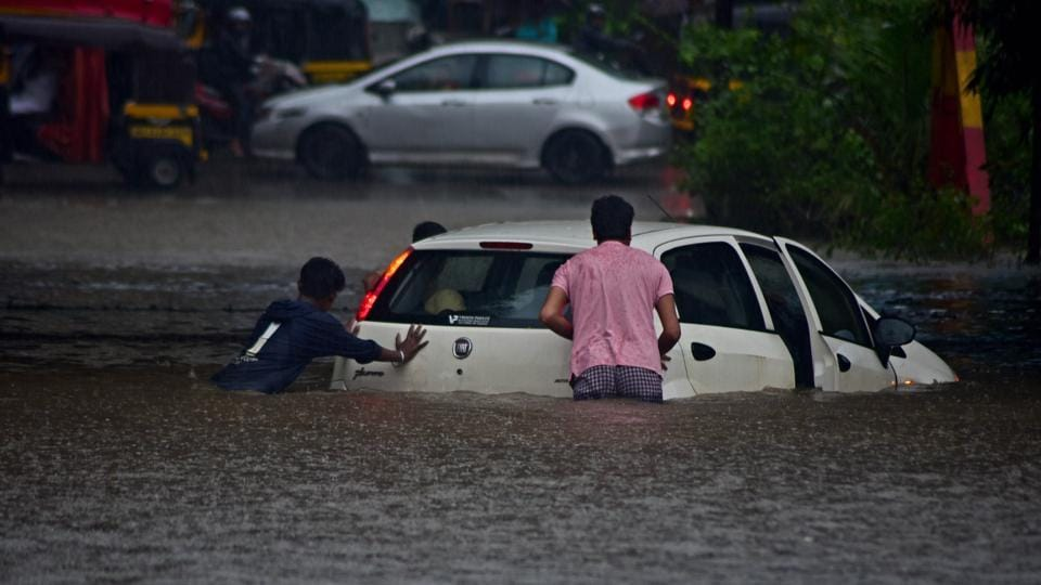 A car stuck in Rain Water under Sanpada Subway during Heavy Rains in Navi Mumbai, India, on Tuesday, September 17, 2019.