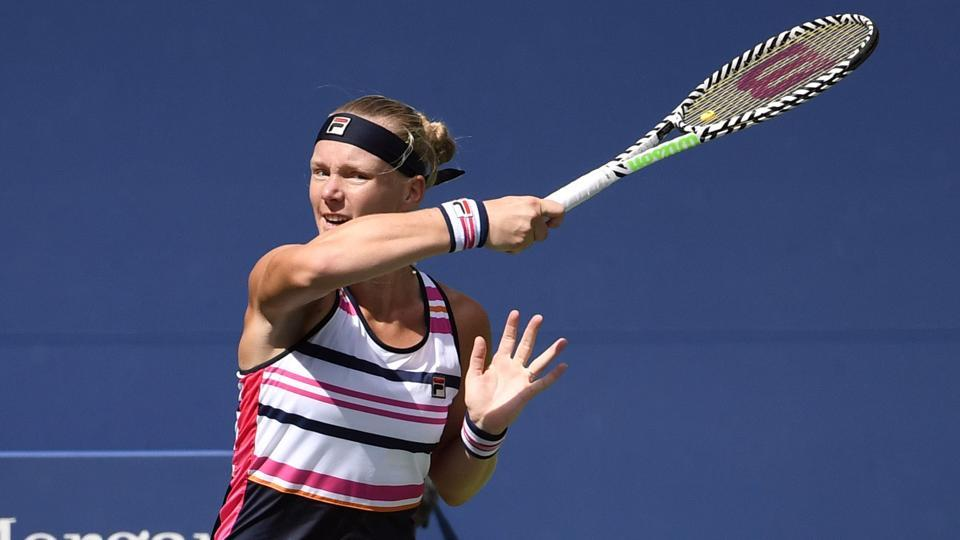 Kiki Bertens of the Netherlands hits to Julia Goerges of Germany.