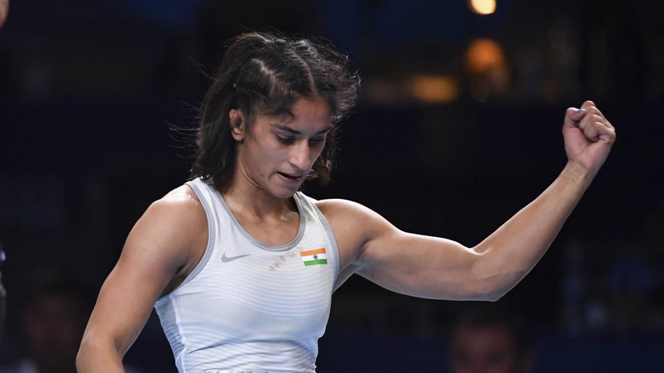 Vinesh Phogat of India reacts as she won the bronze match of the women's 53kg category against Maria Prevolaraki of Greece during the Wrestling World Championships in Nur-Sultan, Kazakhstan, Wednesday, Sept. 18, 2019.