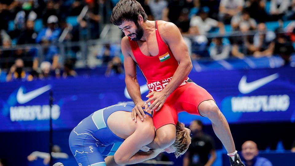 India's Bajrang Punia in action against Slovenia's David Habat.