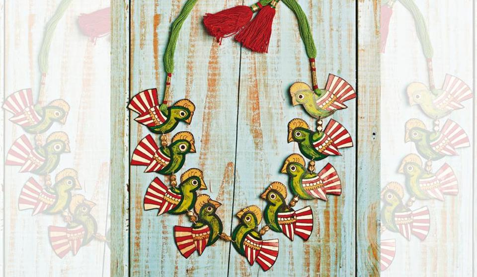 Hand-painted leather puppetry bird necklace from Andhra Pradesh