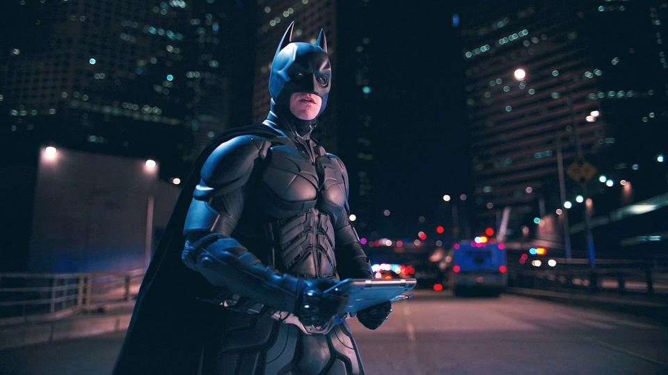 Christian Bale as Batman in a still from the Dark Knight Rises