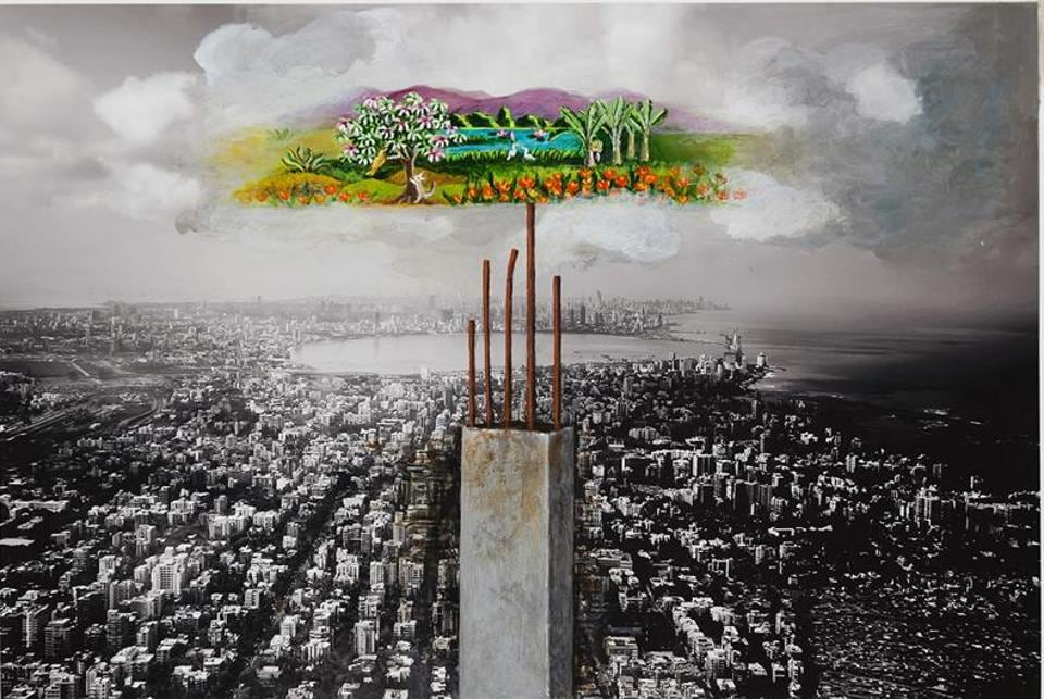 The annual show, called Colours of Life and now in its 15th edition, raises funds to pay for cancer treatments for those who cannot afford them. This work by artist Meera Devidaya, titled Mumbai, depicts the degradation of urban landscapes.