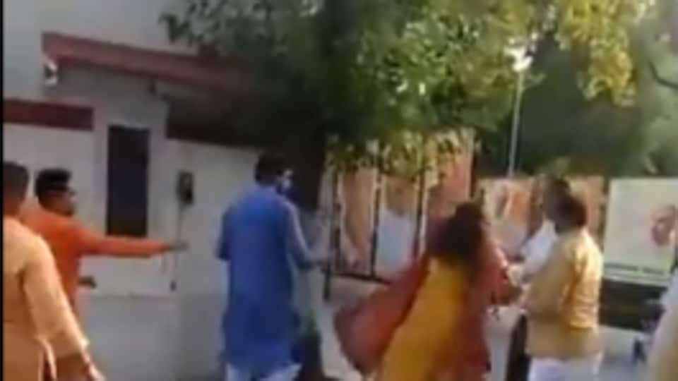 A video of BJPleader Azad Singh slapping his wife has been widely shared on social media.