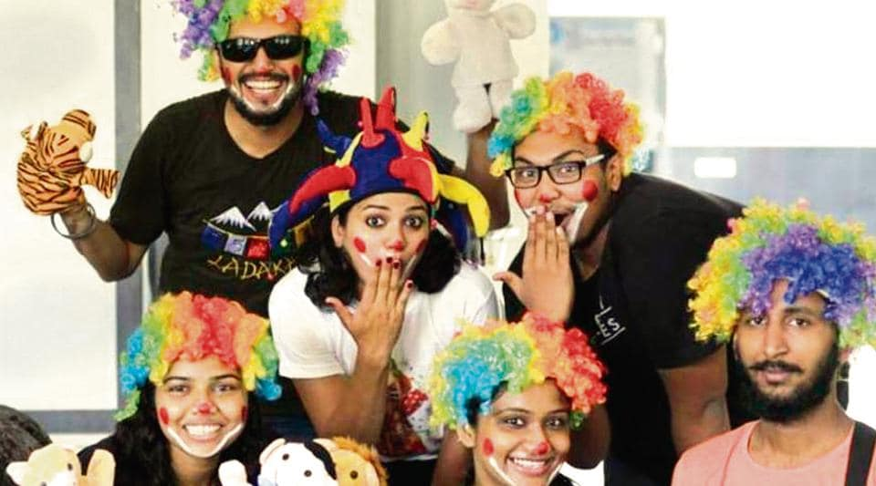One of the few 'medical clowns' in India, the woman runs a volunteer group — the Clownselors to do distraction therapy for free at a government hospital for kids.