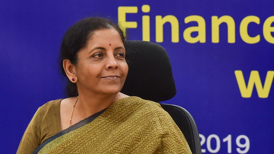 Union Finance Minister Nirmala Sitharaman chairs a review meeting with the public sector banks, at Vigyan Bhawan in New Delhi.