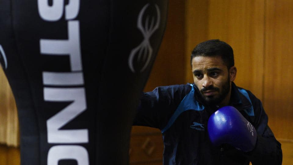 Amit Panghal at National Institute of Sports (NIS) during a national boxing camp in Patiala, Punjab.