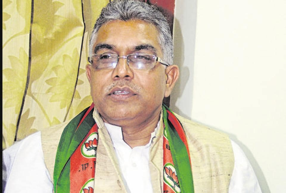 President of West Bengal, BJP Dilip Ghosh during a press meet at BJP office in Kolkata.