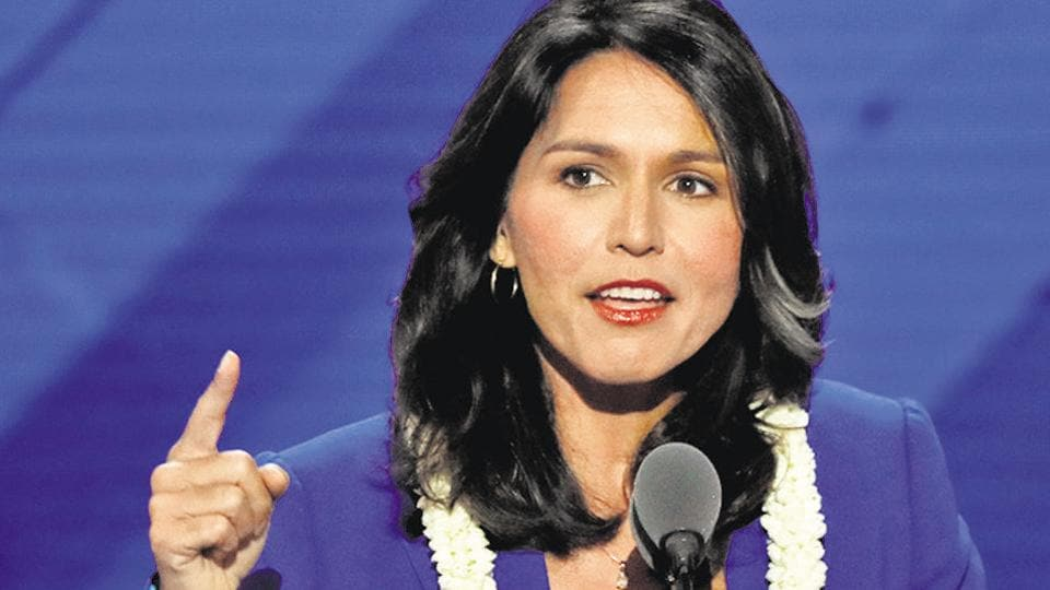 Democratic presidential aspirant and the first Hindu woman in the US Congress Tulsi Gabbard.