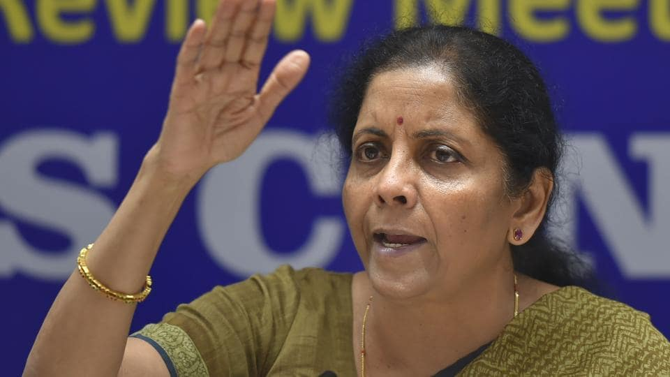 Finance Minister Nirmala Sitharaman addresses a press conference after a review meeting in New Delhi, Thursday, Sept. 19, 2019.