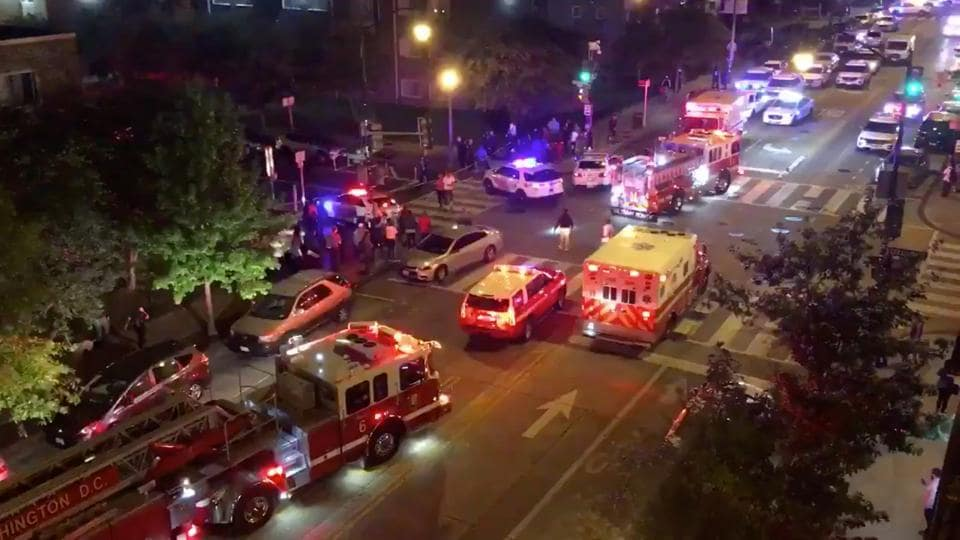 Rescue vehicles are seen following a shooting in Washington, D.C., U.S. September 19, 2019, in this picture obtained from social media.