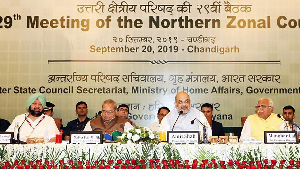Punjab chief minister Captain Amarinder Singh, J&K governor Satya Pal Malik, Union home minister Amit Shah and Haryana chief minister Manohar Lal Khattar during the 29th meeting of the Northern Zonal Council in Chandigarh on Friday.