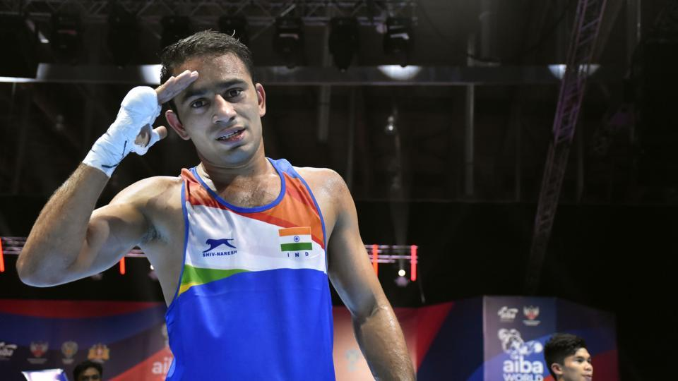 India's Amit Panghal at World Men's Boxing Championships in Ekaterinburg, Russia.