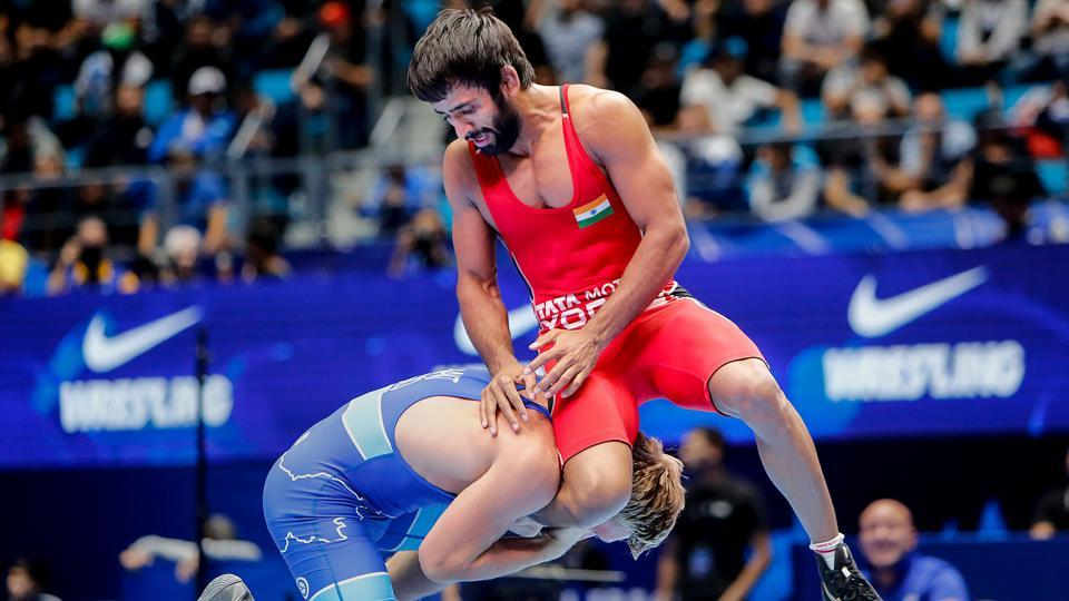 India's Bajrang Poonia in action against Slovenia's David Habat at World Wrestling Championships in Nur Sultan, Kazakhstan.