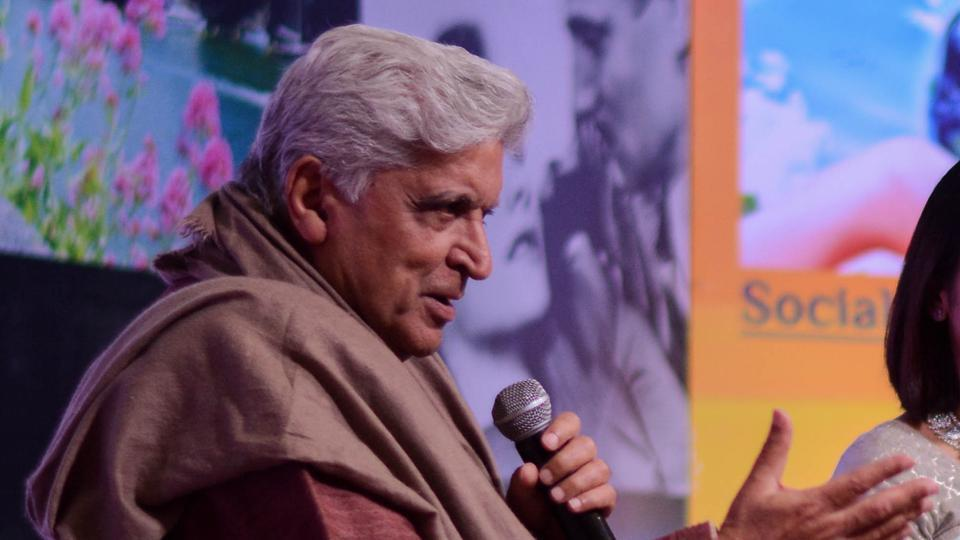 Javed Akhtar (left) addressing the audience at the seventh Pune International Literary Festival, held on Friday, at Yashda auditorium, Baner.