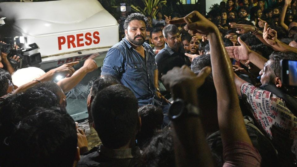 Union Minister of State  for  Environment, Forest and Climate Change Babul Supriyo was manhandled by students in the campus of the  Jadavpur University in Kolkata on Thursday.
