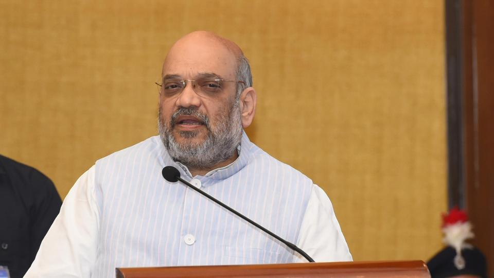 Union home minister Amit Shah addressing the gathering at a city hotel in Chandigarh on Friday.