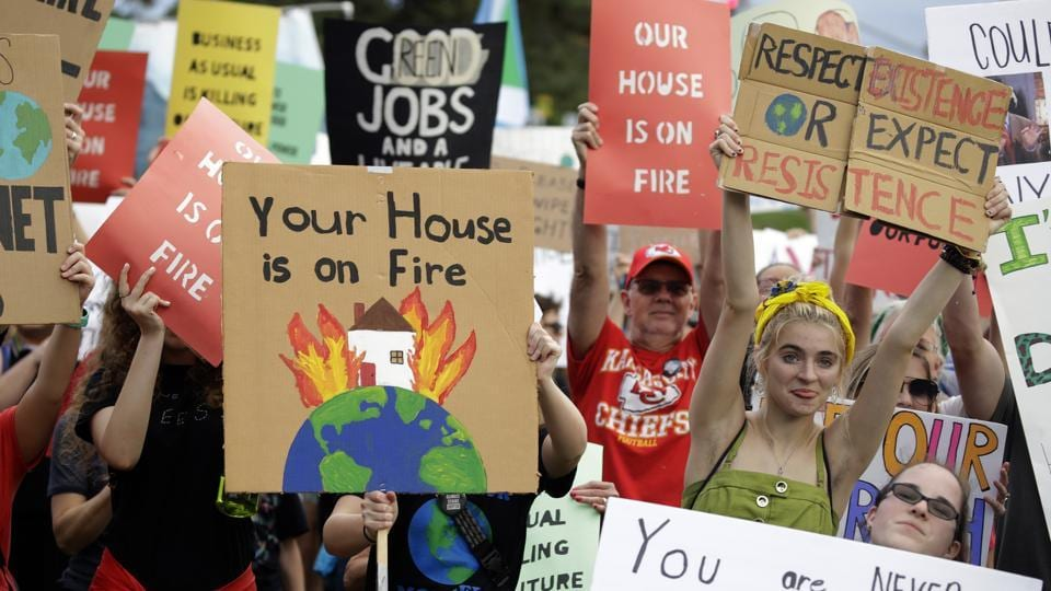 People took to the streets to demand that leaders tackle climate change in the run-up to a U.N. summit.
