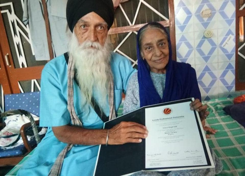 Sohan Singh Gill, who earned a masters degree at the age of 83.Harpreet Kaur/HT Photo