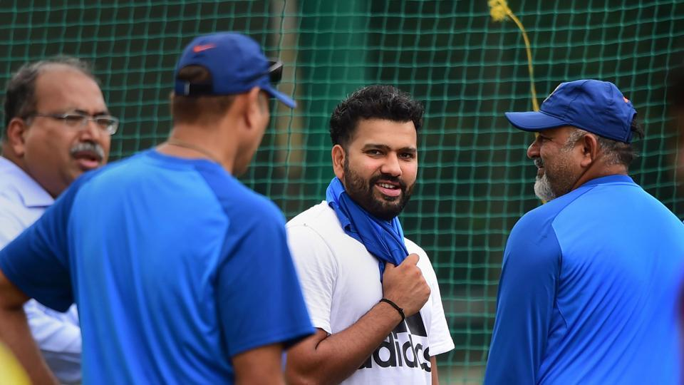 Indian cricketer Rohit Sharma during a practice session.