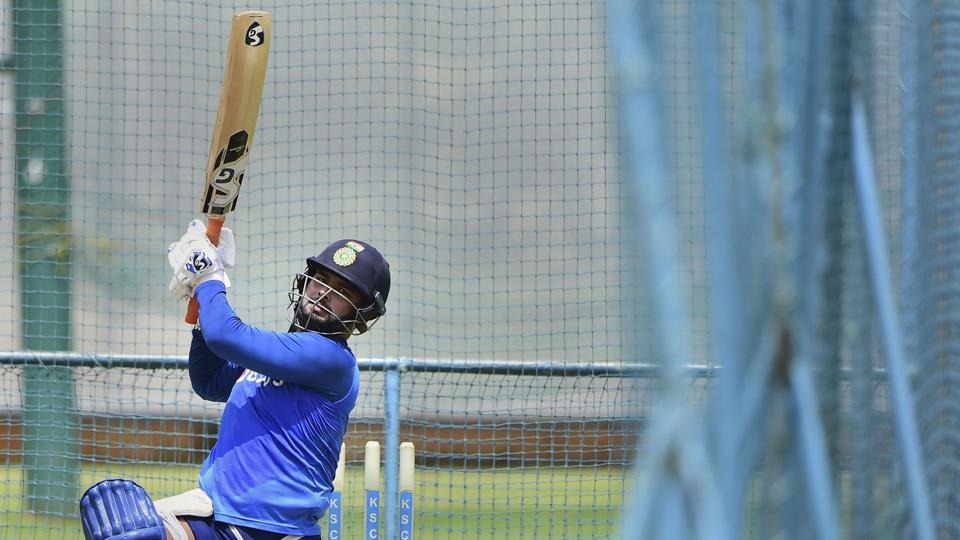 Indian cricketer Rishabh Pant during a practice session.