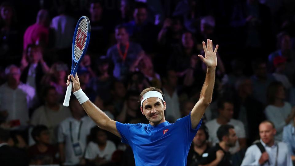 Team Europe's Roger Federer celebrates winning his doubles match against Team World's Jack Sock and Denis Shapovalov